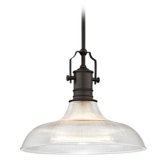 Industrial Prismatic Pendant Light Bronze 15.38-Inch Wide
