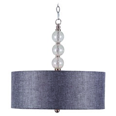 Kenroy Home Lighting Maya Brushed Steel with Clear Crackle Pendant Light with Drum Shade