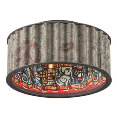 Troy Lighting Street Art Weathered Galvanized with Street Art Interior Semi-Flushmount Light