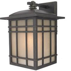 Outdoor Wall Light with Amber Glass in Imperial Bronze Finish