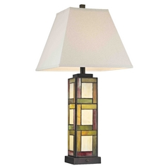 Pearmain Tiffany Bronze Table Lamp with Natural Linen Square Shade