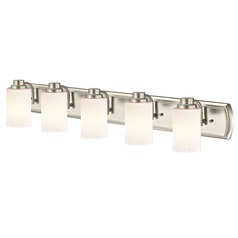 5-Light Bath Bar in Satin Nickel with White Cylinder Art Glass
