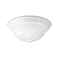 Progress Lighting Progress Flushmount Light with Alabaster Glass in White Finish P3926-30