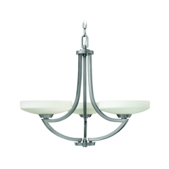 Modern Chandelier with White Glass in Polished Antique Nickel Finish