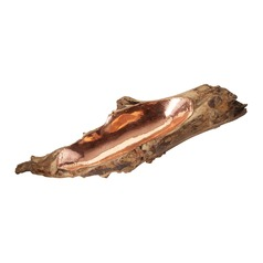 Short Teak Root Bowl With Copper Insert