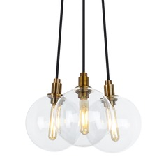 Mid-Century Modern Aged Brass LED Multi-Light Pendant by Tech Lighting