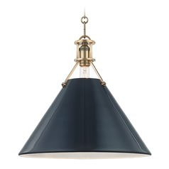Hudson Valley Aged Brass Pendant Light with Darkest Blue Metal Shade