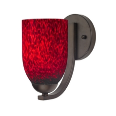 Modern Red Art Glass Wall Sconce in Bronze Finish
