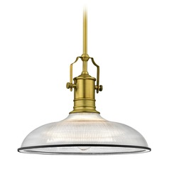 Industrial Pendant Light with Prismatic Glass Brass / Black 14.38-Inch Wide