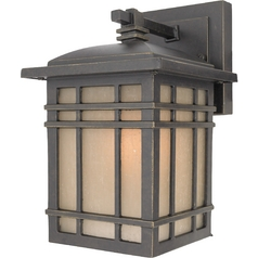 Quoizel Lighting Outdoor Wall Light with Amber Glass in Imperial Bronze Finish HC8406IBFL