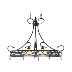 Kenroy Home Lighting Drum Pendant Light with Amber Glass in Royal Bronze Finish 91562RBRZ