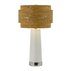 Modern Table Lamp with Brown Cork Shade in Chrome Finish