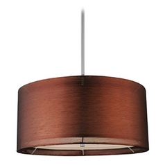 Design Classics Lighting Drum Pendant Light with Copper Shade in Nickel Finish DCL 6528-09 SH7450  KIT