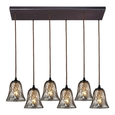 Multi-Light Pendant Light with Brown Glass and 6-Lights