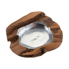 Medium Round Teak Bowl With Aluminum