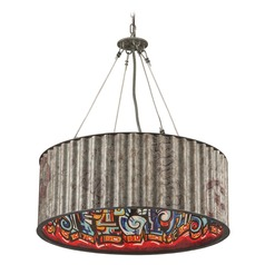 Troy Lighting Street Art Weathered Galvanized with Street Art Interior Pendant Light with Drum Shade