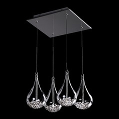 Kuzco Lighting Modern Chrome Multi-Light Pendants with Clear Water Shade