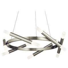 Radian Brushed Nickel LED Pendant Light by Elan Lighting