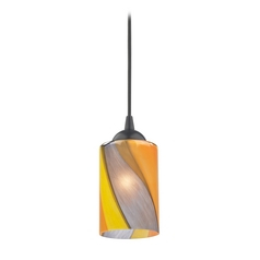 Design Classics Lighting Modern Mini-Pendant Light with Art Glass 582-07  GL1015C