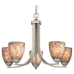 Chandelier with Brown Art Glass in Satin Nickel Finish