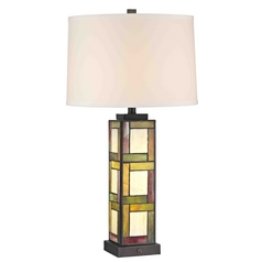 Pearmain Tiffany Bronze Table Lamp with Bright White Linen Drum Shade