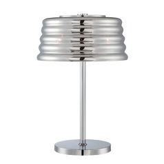 Lite Source Venice Chrome Table Lamp with Fluted Shade