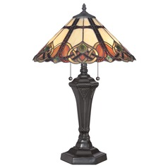 Quoizel Cambridge Vintage Bronze Table Lamp with Conical Shade