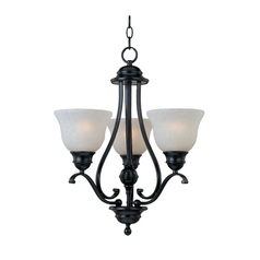 Mini-Chandelier with White Glass in Black Finish