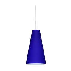 Modern Pendant Light with Blue Glass in Satin Nickel Finish