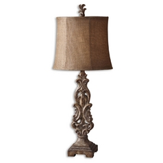 Console & Buffet Lamp with Brown Tones Shade in Antique Light Brown Finish