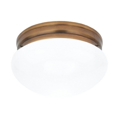 Flushmount Light with White Glass in Russet Bronze Finish