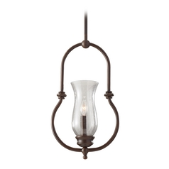 Mini-Pendant Light with Clear Glass in Heritage Bronze Finish