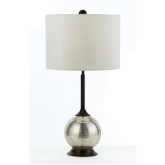 Modern Table Lamp with White Shade in Oil Rubbed Bronze Finish