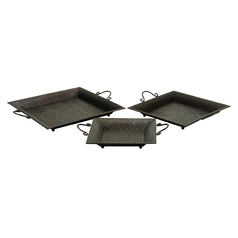 UMA Enterprises Set of Three Metal Serving Trays 30728