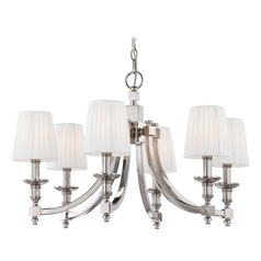 Chandelier with White Shades in Polished Nickel Finish