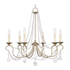 Livex Lighting Pennington Antique Silver Leaf Crystal Chandelier