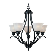 Maxim Lighting International Chandelier with White Glass in Black Finish 11805ICBK
