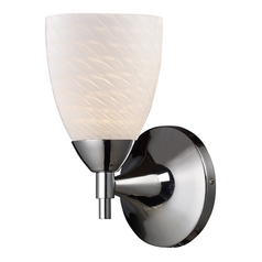 Sconce Wall Light with Art Glass in Polished Chrome Finish