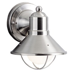 Kichler Lighting 7-1/2-Inch Nautical Outdoor Wall Light with 8-Watt LED Bulb 9021NI 8W LED