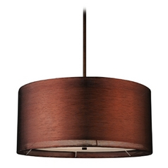 Design Classics Lighting Bronze Drum Pendant Light with Copper Shade DCL 6528-604 SH7450  KIT