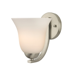 Modern Wall Sconce With White Bell Glass In Satin Nickel Finish