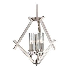 Mini-Chandelier with Clear Glass in Polished Nickel Finish