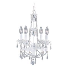 Livex Lighting Athena Antique White Crystal Chandelier