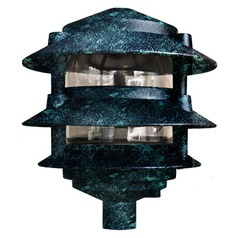 Verde Green Cast Aluminum Three Tier Pagoda Light