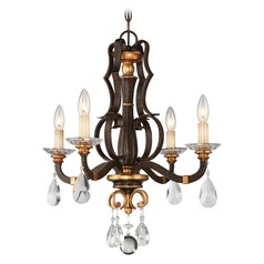 Chateau Nobles Raven Bronze with Sunburst Gold Crystal Chandelier