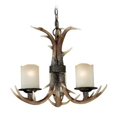 Yoho Faux Antler and Black Walnut Mini-Chandelier