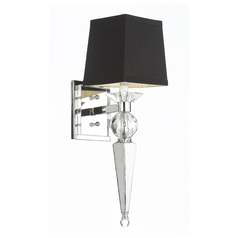 Modern Sconce Wall Light with Black Shade in Chrome Finish