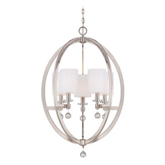 Crystal Orb Chandelier Pendant Light with White Drum Shades