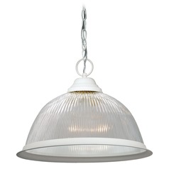 Nuvo Lighting Textured White Pendant Light with Bowl / Dome Shade