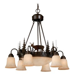 Bryce Burnished Bronze Chandeliers with Center Bowl by Vaxcel Lighting